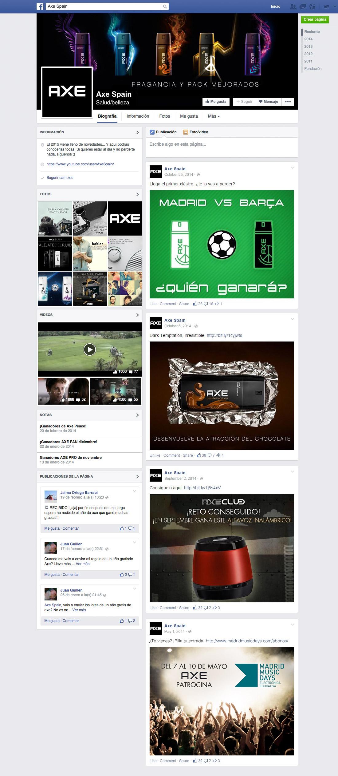 Axe Spain Facebook