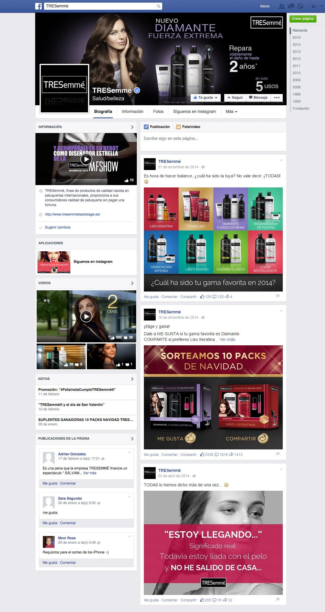 Social Media TRESemmé Facebook